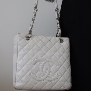Chanel Petite Shopping Tote White Quilted Caviar